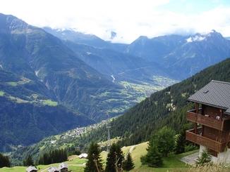 Ausblick auf die Alpen vom Haus Val Roc, Riederalp West: Ausblick auf die Alpen vom Haus Val Roc, Riederalp West
