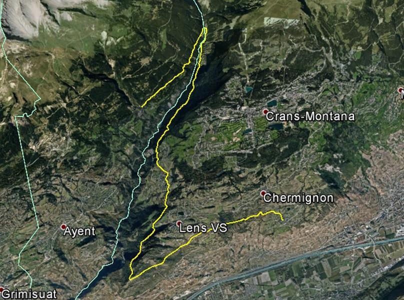 Karte der Grossen Suone von Lens: Karte der Grossen Suone von Lens