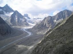 Weg zur Oberaletschhuette mit Blick aufs Aletschhorn: Weg zur Oberaletschhuette mit Blick aufs Aletschhorn