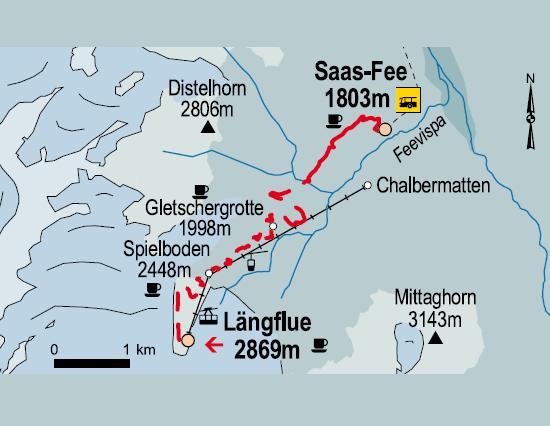Lngfle Spielboden Gletschergrotte SaasFee Wanderweg