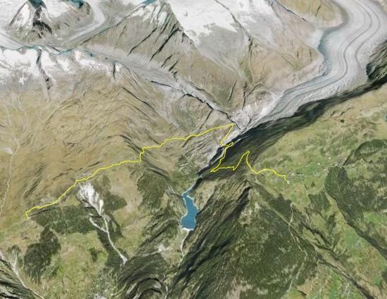 Uebersicht Wanderweg Riederalp - Haengebruecke - Belalp