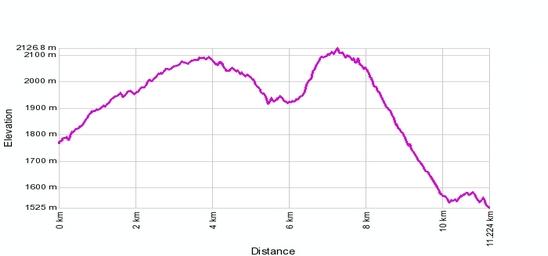 Höhenprofil: Rothwald - Bortelhuette - Berisal  (Simplon Hoehenweg)