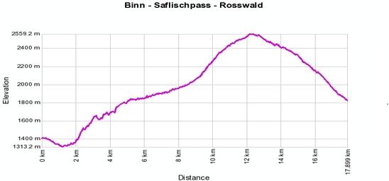 Höhenprofil: Binn - Saflischpass - Rosswald