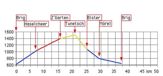 Höhenprofil: Tunetsch-Bister (Brig - Tunetsch - Mörel -Brig)